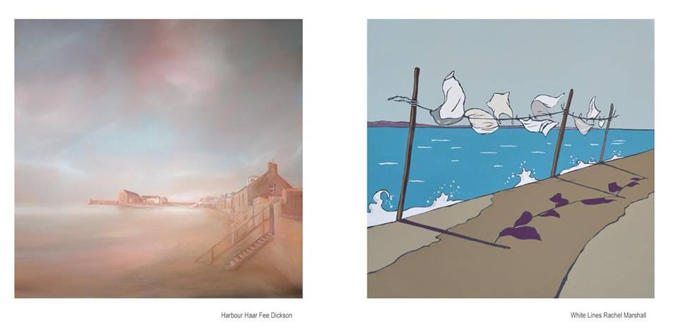 2 paintings - Grey Shores by Fee Dickson Reid; White Lines by Rachel Marshall