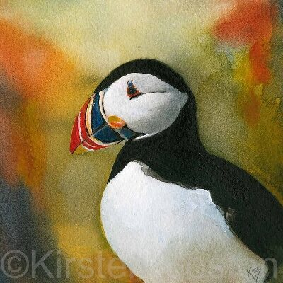 Giclée Print of Colourful Puffin by Kirsten Boston