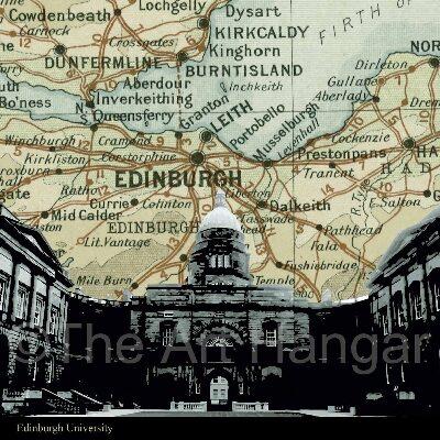 Old Map Silhouette Giclée print of the Edinburgh Castle