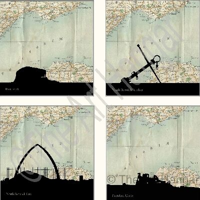 Old Map Giclée print (mounted) of 4 Silhouetted North Berwick Landmarks - Bass Rock