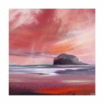 Giclée Print of Bass Rock in Red by Kirsten Boston