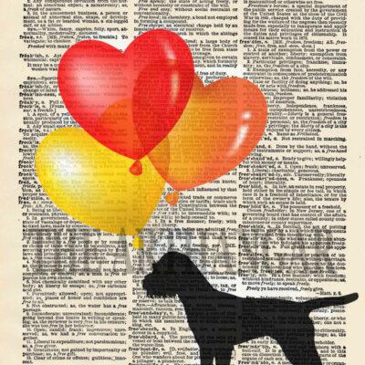 Dictionary Dog Silhouette of a Border Terrier Giclée Fine Art Print